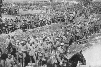 Columns of German Prisoners, Somme, France, 1918