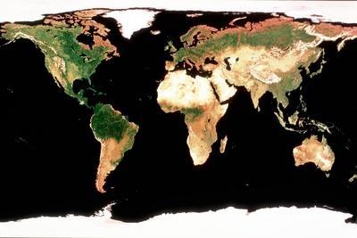 Photomosaic of Earth Without Cloud Cover