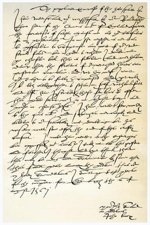 Letter from John Knox to Sir Nicholas Throgmorton, 6th August 1561