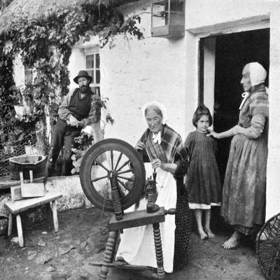 Spinning Wool Yarn, Cliffony, Sligo, 1908-1909