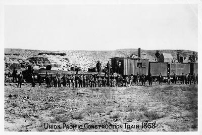 Construction Train on the Union Pacific Railroad, USA, 1868