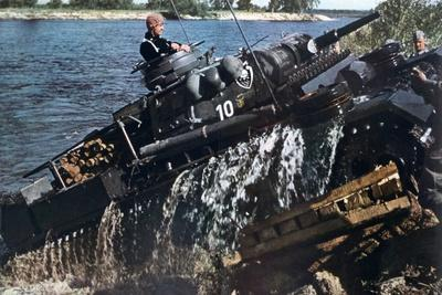 German Tank Fording a River, Russia, 1941