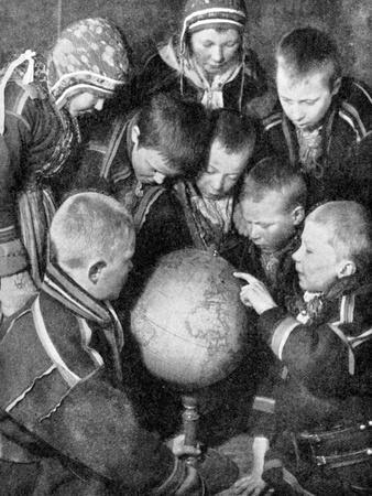 Lapp Children Looking at a Globe, 1936