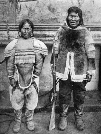 Eskimo Hunter and His Wife in Winter Costume, C1922