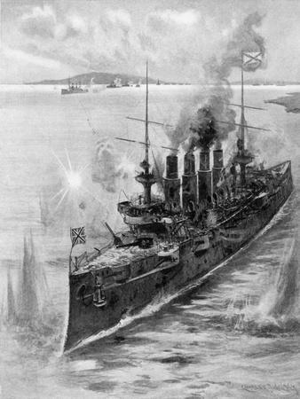 Russian Cruiser under Fire, Russo-Japanese War, 1904-5