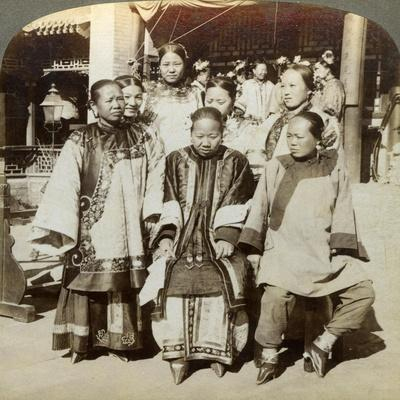 A Group of Women in the Courtyard of a Wealthy Chinese House, Peking, China, 1902