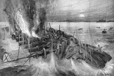 Russian Cruiser Foundering at the Battle of Cehmulpo, Russo-Japanese War, 1904-5