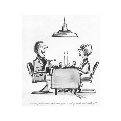 """Wow, sweetheart, this sure packs a hefty nutritional wallop!"" - New Yorker Cartoon"