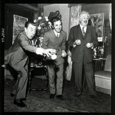 Charles Aznavour, Fernandel and Michel Simon at the Orange and Citron Price, 28 October 1969