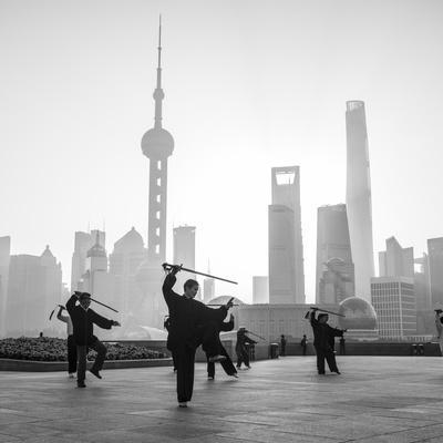 Tai Chi on the Bund (With Pudong Skyline Behind), Shanghai, China
