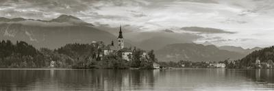 Bled Island with the Church of the Assumption and Bled Castle Illuminated at Dusk, Lake Bled