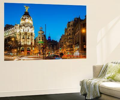 Night View of Gran Via Street with Car Light Trails, Madrid, Comunidad De Madrid