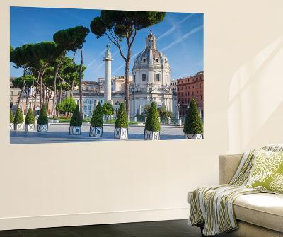 Trajan's Column in Trajan's Forum and Church of Santa Maria Di Loreto, Rome, Lazio