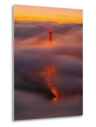 Ethereal Gold, Fog Covered Golden Gate Bridge, San Francisco