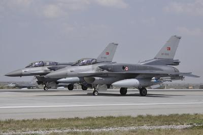 Two Turkish Air Force F-16C-D Block 52+ Aircraft Ready for Take-Off