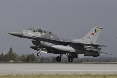 A Turkish Air Force F-16D Landing on the Runway at Konya Air Base