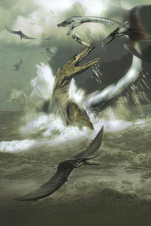 Hydrotherosaurus and Tylosaurus Dinosaurs Attacking Pteranodons