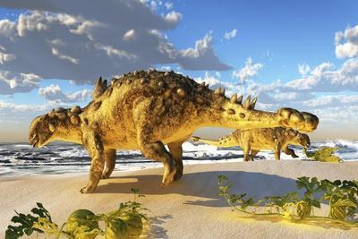 Euoplocephalus Dinosaurs Munch on Melons on an Ocean Beach