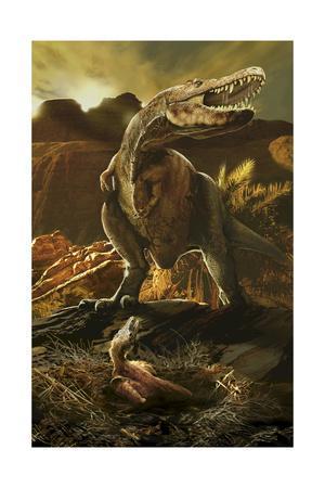 A Tarbosaurus and its Newborn