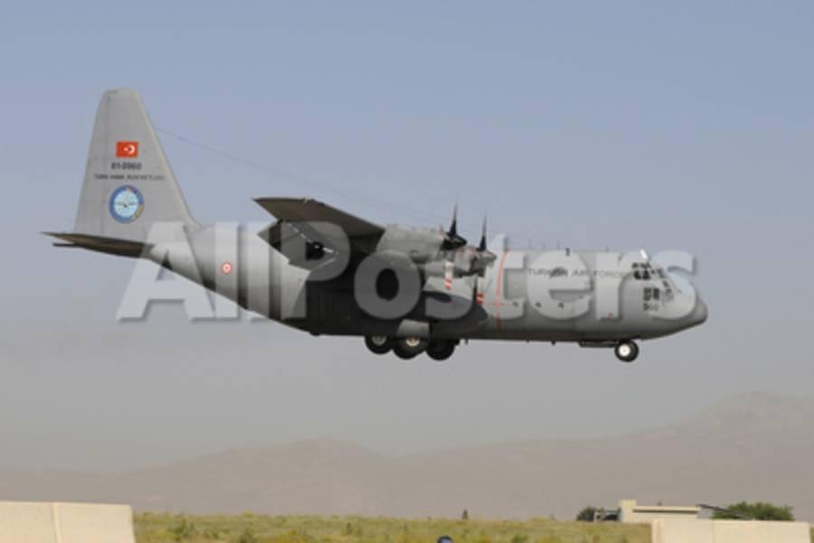 A Turkish Air Force C-130 Hercules Landing at Konya Air Base, Turkey