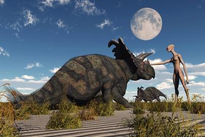 A Reptoid Using Telepathy to Communicate with a Albertaceratops Dinosaur