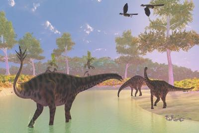 A Herd of Spinophorosaurus Dinosaurs Drinking at a River
