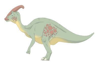 Parasaurolophus Pencil Drawing with Digital Color