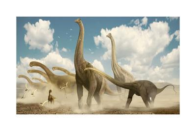 A Herd of Sauropods Migrating Together