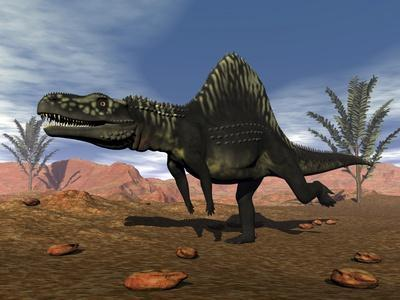 Arizonasaurus Dinosaur in the Desert with Pachypteris Trees