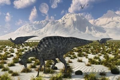 A Herd of Velafrons Hadrosaurid Dinosaurs During the Cretaceous Period