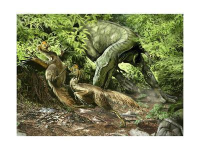 A Deadly Alioramus Suprises a Pair of Nesting Oviraptors