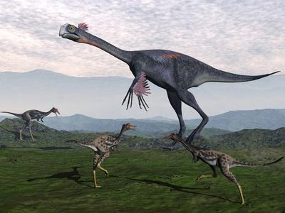 Gigantoraptor Surrounded by Small Mononykus Dinosaurs