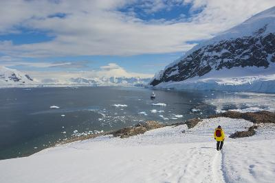 Antarctica. Neko Harbor. Hiker Heading Towards the Penguin Colony