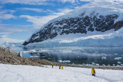 Antarctica. Neko Harbor. Hikers Heading Towards the Penguin Colony