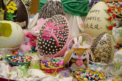 Australia. Easter Display of Decorated Eggs and Stuffed Easter Bunny