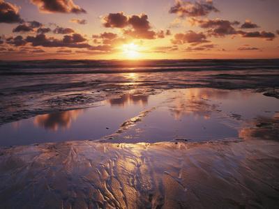 California, San Diego, Sunset Cliffs, Sunset Reflecting on a Beach