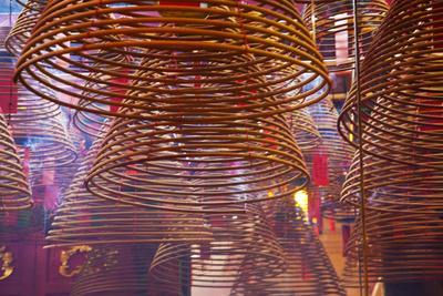 China, Hong Kong, Spiral Incense Sticks at Man Mo Temple