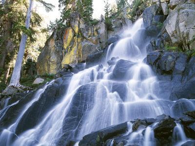 California, Sierra Nevada Mountains. a Waterfall and Rocks