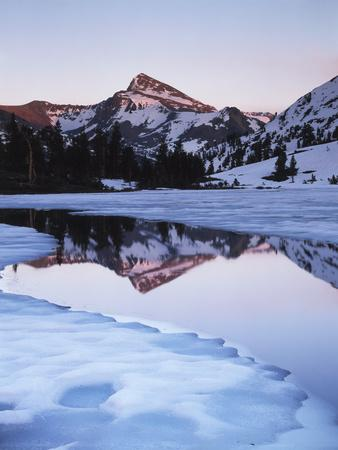 California, Sierra Nevada Mts, Dana Peak Reflecting in a Frozen Lake