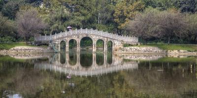 Chinese Bridge over Green Lake in Kunming, China