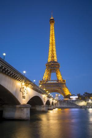 Twilight Below the Eiffel Tower and Pont Diena, Paris, France