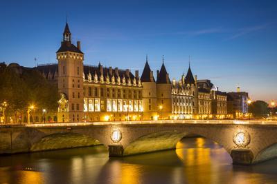 Twilight over the Concierge and Pont Au Change, Paris France