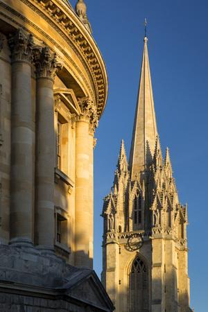 Sunset Radcliffe Camera and Tower of St Marys Church, Oxford, England