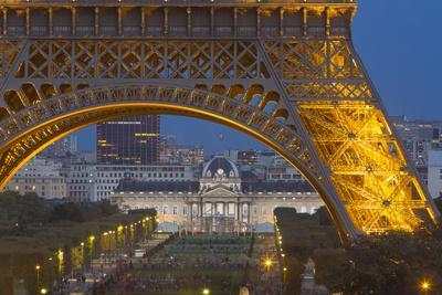 Eiffel Tower with Ecole Militaire Beyond, Paris, France