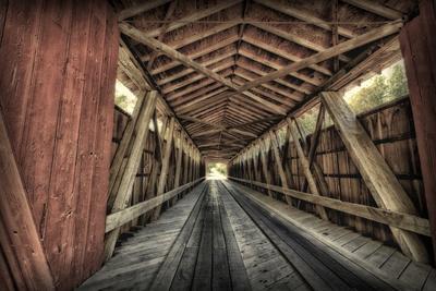 USA, Indiana, Carroll County. Lancaster Covered Bridge