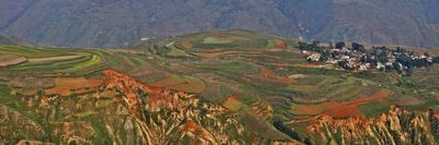 Town Below in the Red Lands of Dongchuan, Kunming Region China