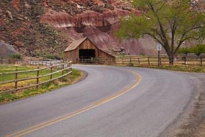United States, Utah, Capitol Reef National Park, Historic Wooden Barn at Fruita