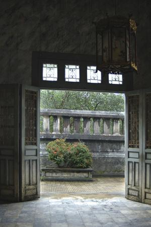 Vietnam. Doors Leading to a Patio, Khai Dinh Tomb, Hue, Thua Thien?Hue