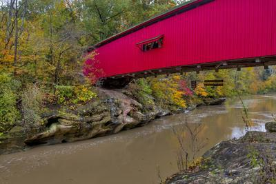 Narrow Covered Bridge over Sugar Creek in Parke County, Indiana, USA