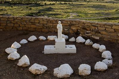 New Mexico. Statue of St Francis Outside Mission San Jose De La Laguna